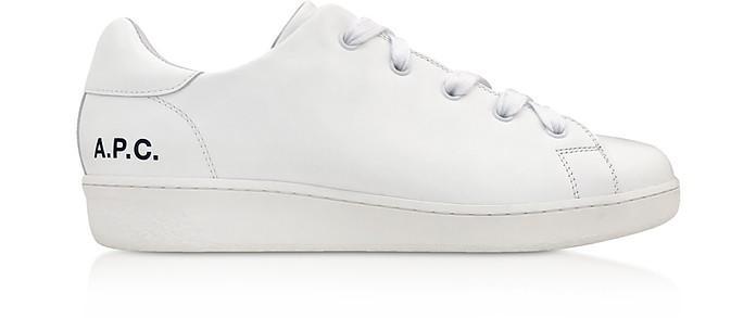 White Leather Minimal Tennis Women's Sneakers - A.P.C.