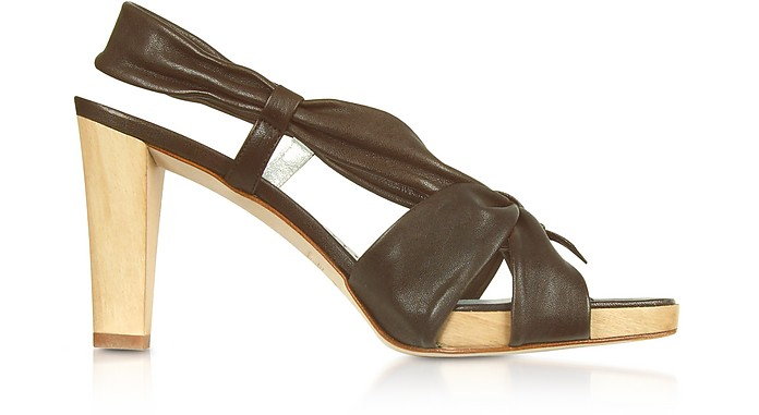 Dark Brown Leather Straps Platform Sandal Shoes - Alberto Gozzi