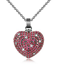 Sterling Silver and Cubic Zirconia Heart Pendant Necklace - Azhar