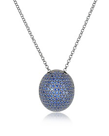 Blue Cubic Zirconia Sterling Silver Pendant Necklace - Azhar