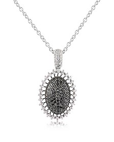 Black Cubic Zirconia and Sterling Silver Oval Pendant Necklace - Azhar
