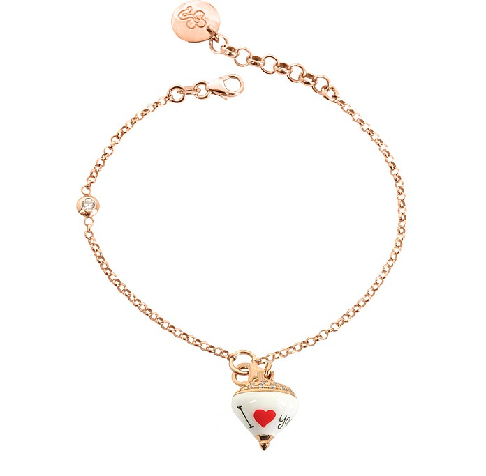 Rose Sterling Silver and Enamel Small Spinning Top Charm Bracelet w/Cubic Zirconia - Azhar