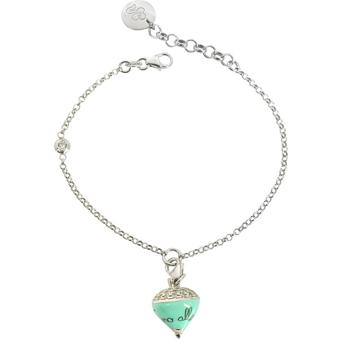 Sterling Silver and Aqua Enamel Small Spinning Top Charm Bracelet w/Cubic Zirconia - Azhar