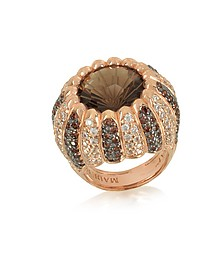 Rose Sterling Silver Riccio Ring w/two-tone Cubic Zirconia and Brown Stone - Azhar
