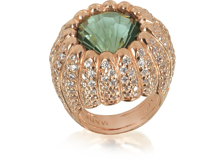 Rose Sterling Silver Riccio Ring w/White Cubic Zirconia and Green Stone - Azhar