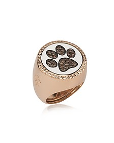 Rose Sterling Silver Ring w/White Enamel and Cubic Zirconia - Azhar