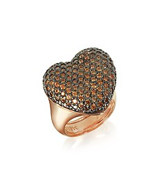 Rose Sterling Silver You/Me Ring w/Champagne Cubic Zirconia - Azhar