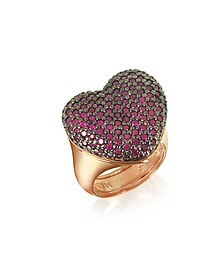 Rose Sterling Silver I Love You Ring w/Red Cubic Zirconia - Azhar