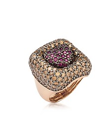 Rose Sterling Silver Squared Heart Ring w/Two-Tone Cubic Zirconia - Azhar