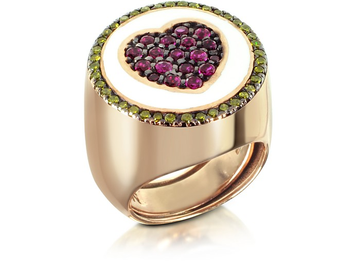 Rose Gold Plated Sterling Silver Adjustable Ring w/Red Cubic Zirconia - Azhar