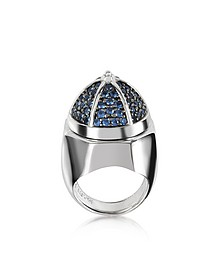 Rhodium Plated Sterling Silver Adjustable Ring w/Black Cubic Zirconia - Azhar