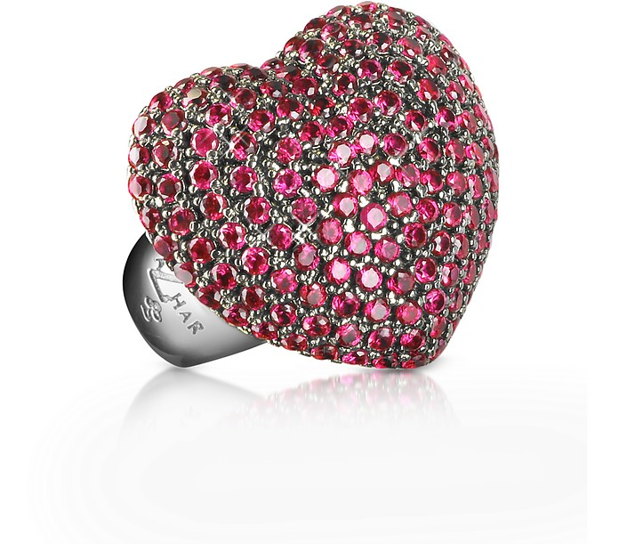 Sterling Silver and Cubic Zirconia Big Heart Ring - Azhar