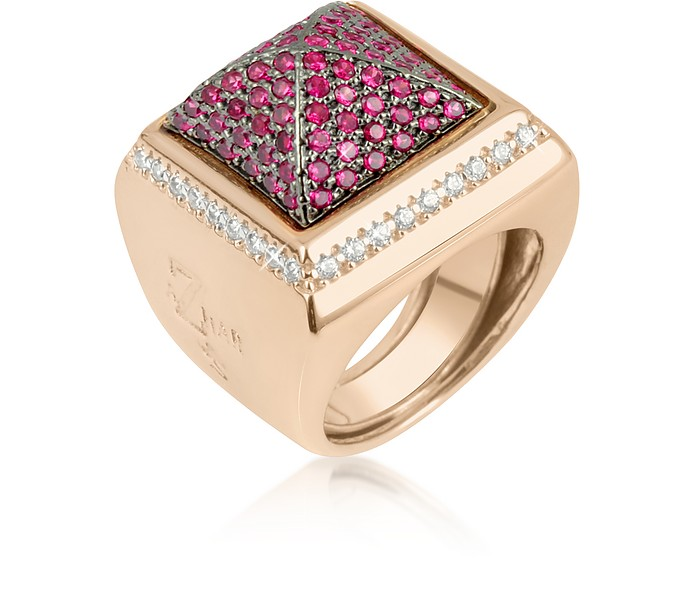 Pink Cubic Zirconia Square Ring - Azhar