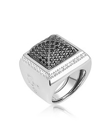 Black Cubic Zirconia Square Ring - Azhar