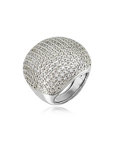 Large Cubic Zirconia Sterling Silver Cocktail Ring - Azhar
