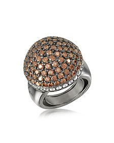 Sterling Silver Cubic Zirconia Semi-Sphere Cocktail Ring - Azhar