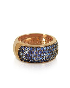 Blue Cubic Zirconia Silver Vermeil Ring - Azhar