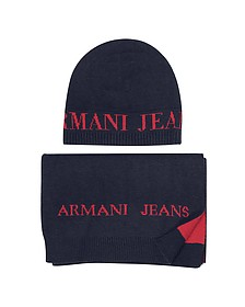 Signature Knitwear Set of Hat and Long Scarf - Armani Jeans