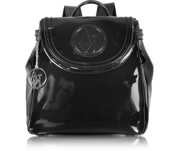63afffb0191b Armani Jeans Black Patent Eco Leather Backpack at FORZIERI