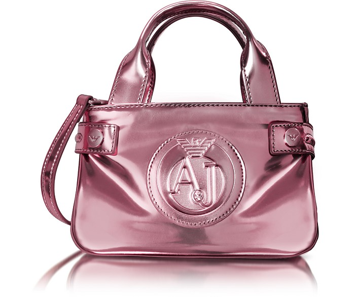 Armani Jeans Pink Metallic Patent Eco Leather Shoulder Bag at FORZIERI 54353b35201e8