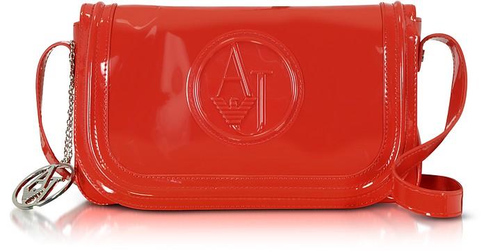 615341b288 Mini Borsa con Tracolla in Eco Vernice con Logo Armani Jeans Rosso ...