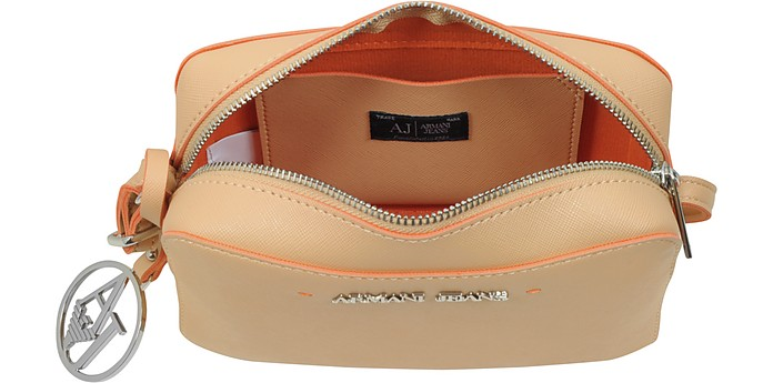 Armani Jeans Beige Saffiano Eco Leather Shoulder Bag At