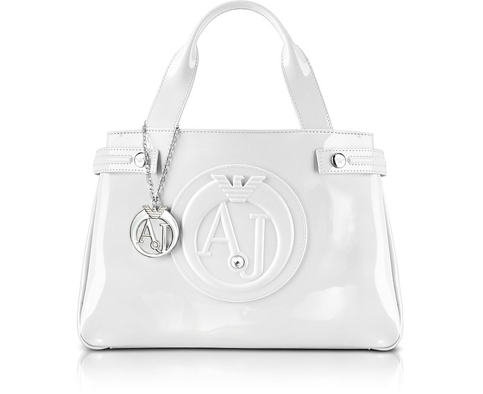 Medium Optic White Faux Patent Leather Tote - Armani Jeans
