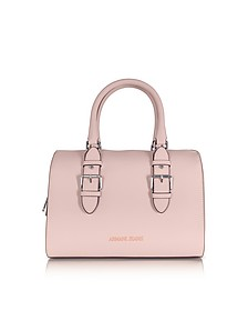 New Light Pink Eco Leather Satchel Bag - Armani Jeans
