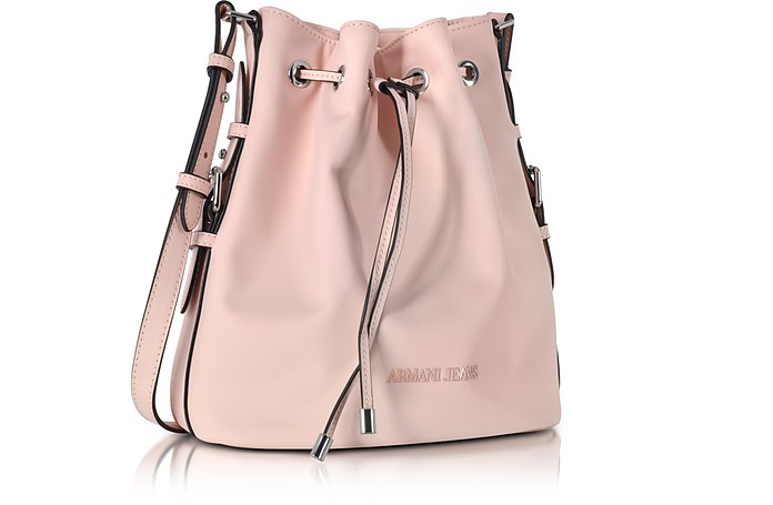 Armani Jeans New Light Pink Eco Leather Bucket Bag at FORZIERI ed6ffc99f3be0