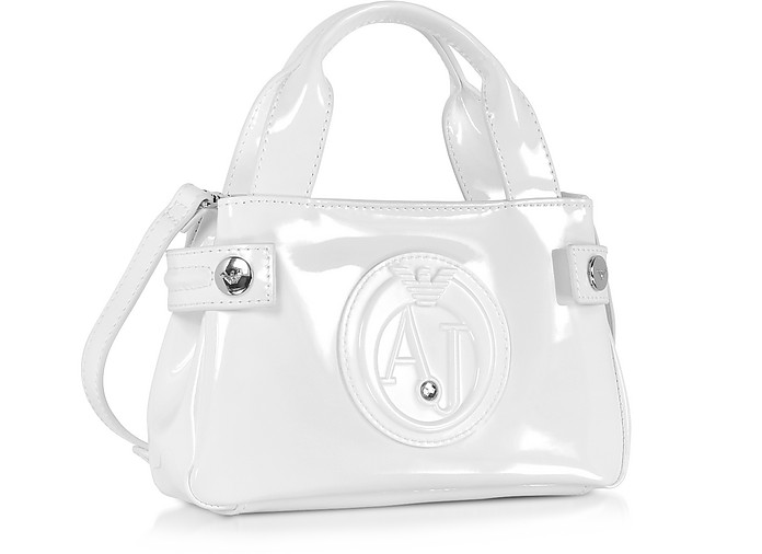 54556af63206 Armani Jeans White Signature Mini Patent Leather Tote Bag at FORZIERI UK