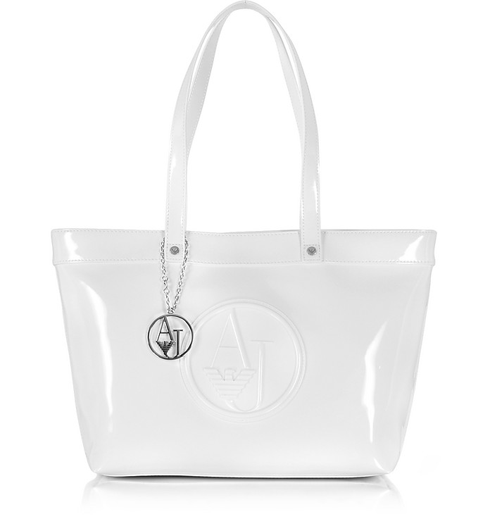 Armani Jeans White Eco Patent Leather Large Tote Bag at FORZIERI UK c3c42a6c24195