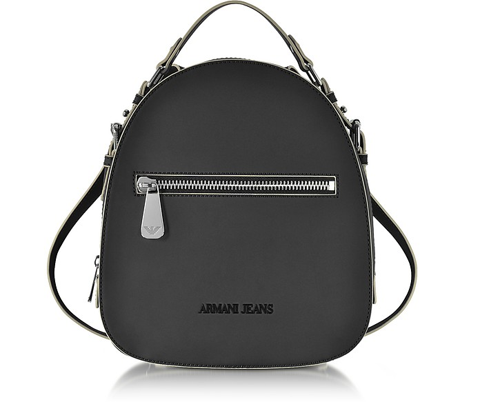 Small Black Eco Leather Backpack - Armani Jeans
