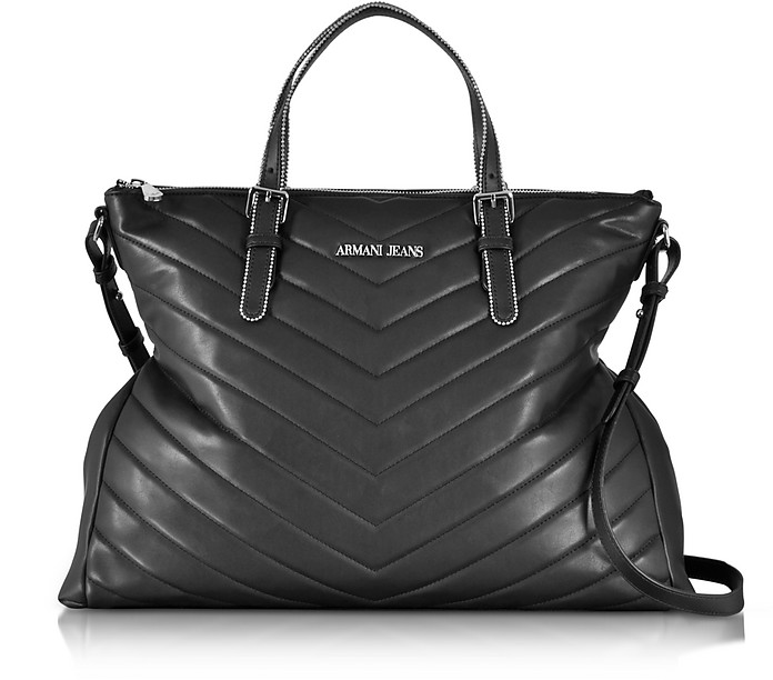5cbbbe2ceb Armani Jeans Black Quilted Eco Leather Zip Top Tote Bag at FORZIERI