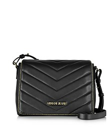 Black Faux Leather Crossbody - Armani Jeans