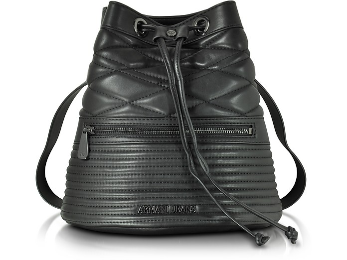 ebb327e04b93 Armani Jeans Black Quilted Eco Leather Backpack at FORZIERI