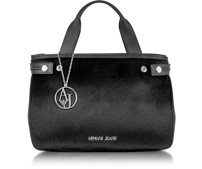 preisreduziert bester Verkauf neue Kollektion Tasche aus Textilleder & Kalbshaar mit Logo