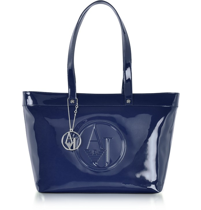 Armani Jeans Midnight Blue Eco Patent Leather Large Tote Bag at ... 486839df68996