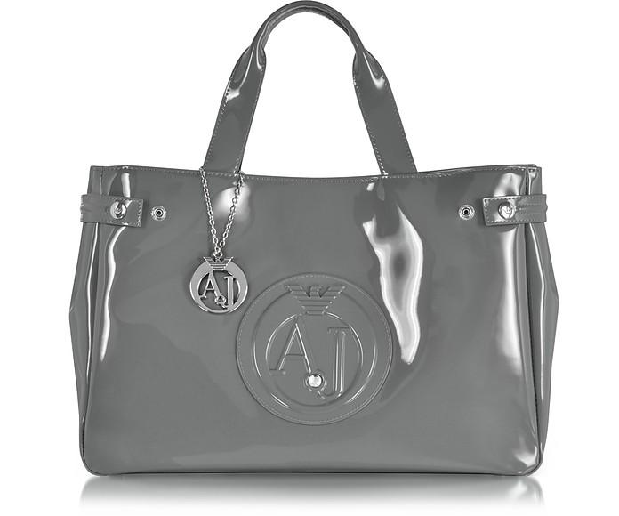 90f4a4a92656 Armani Jeans Large Gray Faux Patent Leather Tote Bag at FORZIERI ...