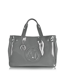 Large Gray Faux Patent Leather Tote Bag - Armani Jeans