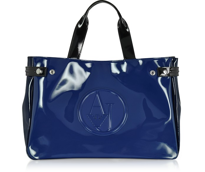 4021bb67 Large Blue, Dark Navy and Black Faux Patent Leather Tote Bag