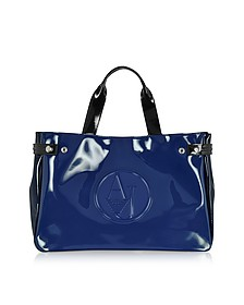 Large Blue, Dark Navy and Black Faux Patent Leather Tote Bag - Armani Jeans