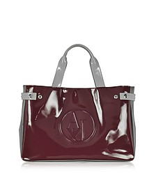 Large Burgundy, Taupe and Light Gray Faux Patent Leather Tote Bag - Armani Jeans