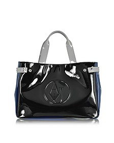 Large Black, Blue and Light Gray Faux Patent Leather Tote Bag - Armani Jeans