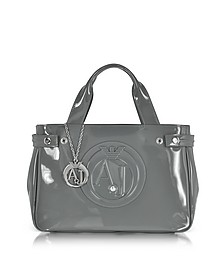 Medium Gray Faux Patent Leather Tote Bag - Armani Jeans