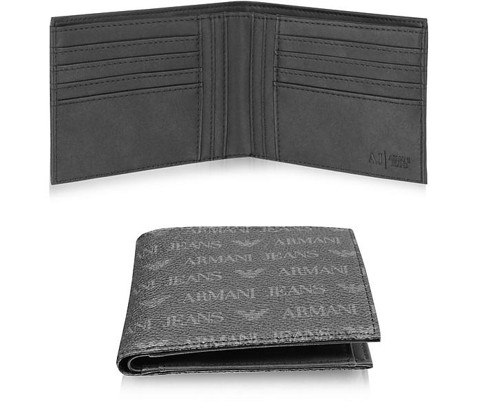 f072f7ae07f Portefeuille Homme en Éco Cuir Noir avec Logo Imprimé Armani Jeans ...