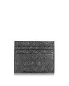 Black Signature Eco Leather Men's Card Holder - Armani Jeans