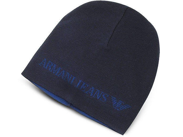 Armani Jeans Blue Solid Wool Blend Men s Beanie Hat at FORZIERI ... a4119ff2a48