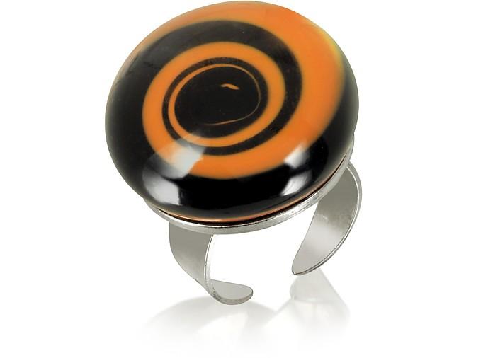 Swirling Murano Glass & Sterling Silver Open Ring - Akuamarina