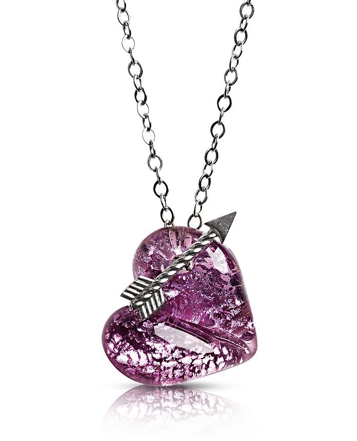 Collar Elizabeth 3 de cristal de murano con dije de corazón - Antica Murrina