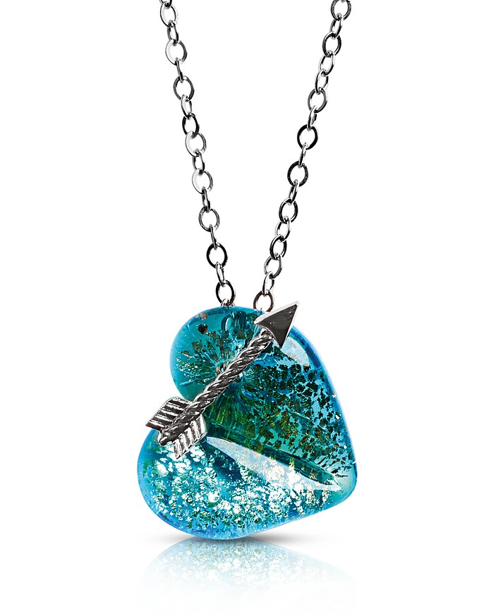 Elizabeth 3 Murano Glass Necklace w/Heart Pendant - Antica Murrina